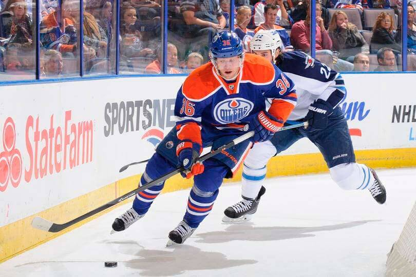 Philip Larsen #36 of the Edmonton Oilers